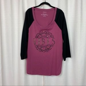 torrid Tops - Torrid Purple 3/4 Sleeve Vibes T-Shirt Sz.1 NWT